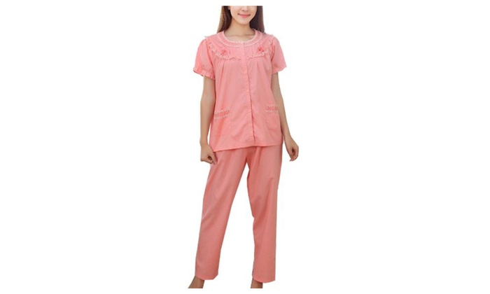 Women's Casual Straight Simple Buttons Up Long Pajamas Set