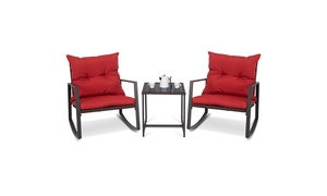 3-Piece Patio Wicker Bistro Furniture Set w/ 2 Rocking Chairs