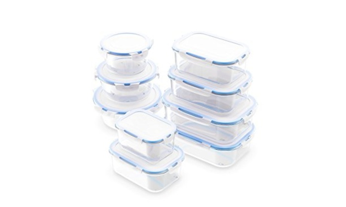 Zestkit 20 Piece Glass Food Storage Containers Airtight Locking