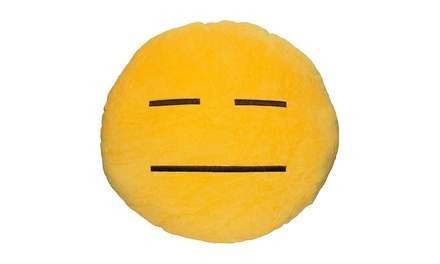 Emoticon Yellow Round Plush Pillow Helpless Emoji Groupon
