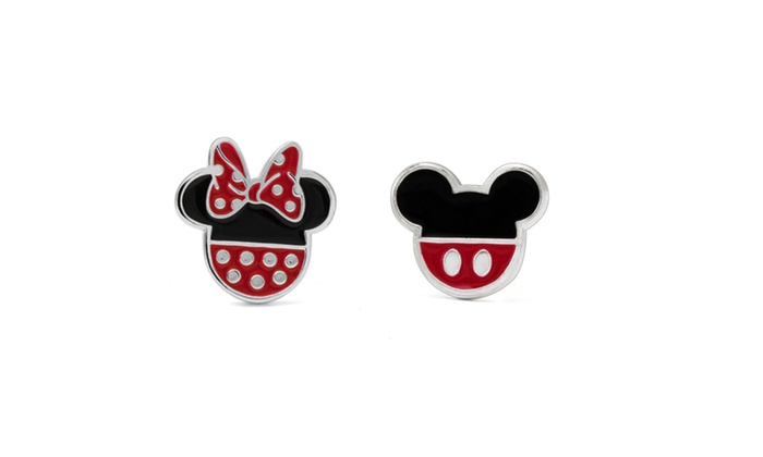 bb8d2ab13 Disney Silver-Plated Mickey and Minnie Mouse Enamel Stud Earrings