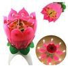 Romantic Musical Lotus Flower Happy Birthday Music Candle Lights