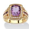 3 TCW Genuine Purple Amethyst and CZ Halo Ring