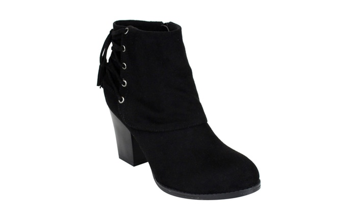 Beston AE61 Women Lace Up With Tassel Stacked Heel Ankle Booties