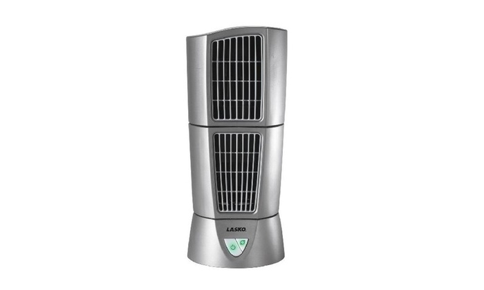 "Lasko 4910 Desktop Wind Tower Fan, 14"", 3 Speed, Gray"