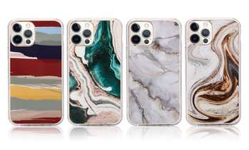 Marble Print with Glitter TPU Protective Case for iPhone 12/ 12 Pro Max/ 12 Mini