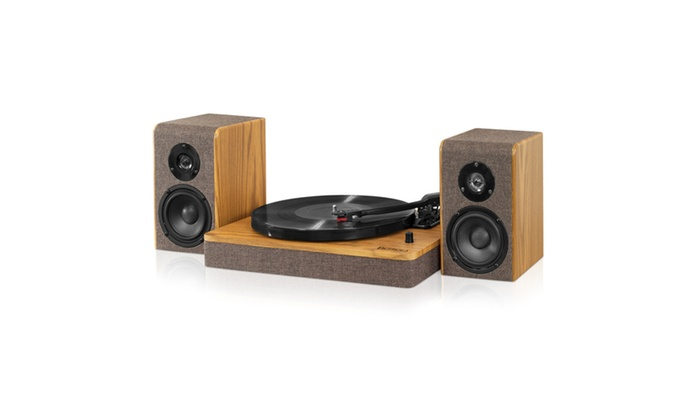 bce2e12ce0ac7 Victrola Wood and Linen Fabric Bluetooth Record Player with 3-speed  Turntable