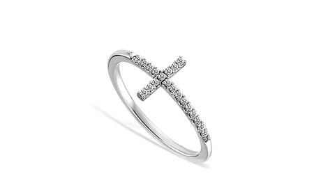Sideways Cross Crystal Ring Band Made With Crystals From Swarovski