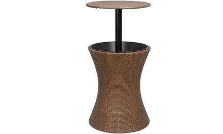 ZENY Patio Pool Cooler Table W/Height Adjustable Top, Ice Bucket