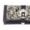Texas West Premiun Embroidery Floral Rhinestone Buckle Trifold Wallets