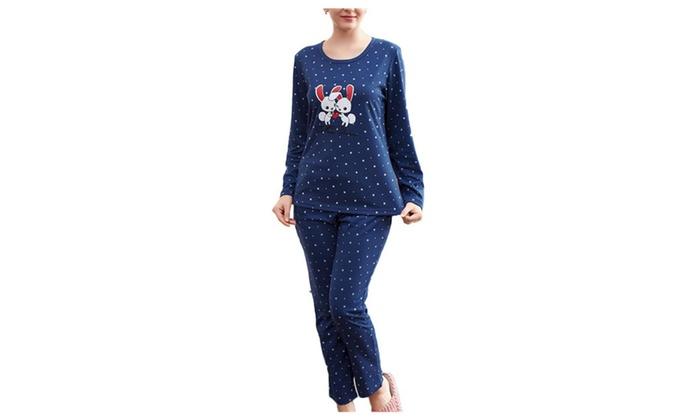 Women's Ribbed Hem Boot-Cut Crew Neck Pullover Pajamas Set