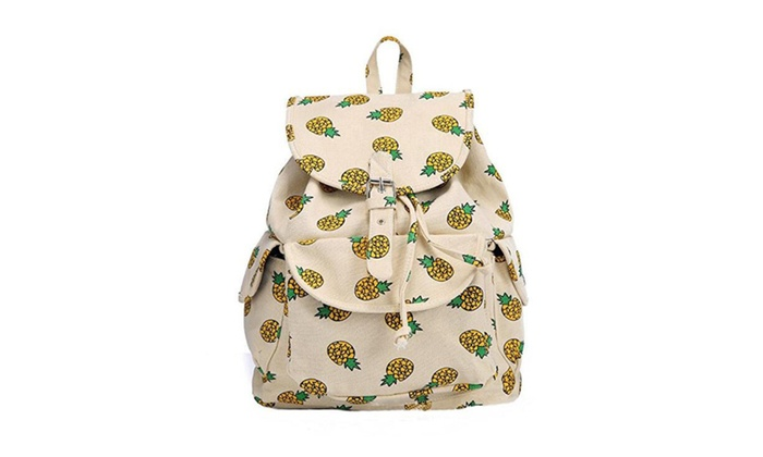 89bb64824c22 Yellow Canvas Pineapple Backpack Travel Bag   Groupon
