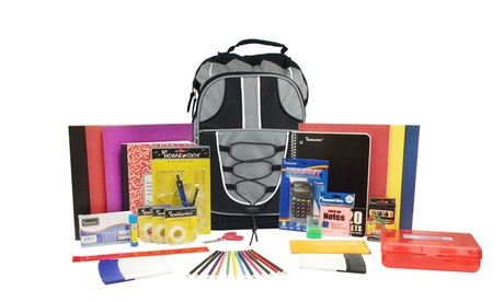 17 inch Prefilled Backpack with 18-Piece School-Supply Kit