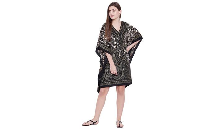 755042ad1aa Black Tunic Paisley Beige Gold Foil Print Top Kaftan Dress Womens Christmas  Gift