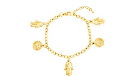 Gold-Tone Stainless Steel Tree of Life with Hamsa Charms Bracelet 0de92e09-3c01-45e4-a88a-17e17e4d390d