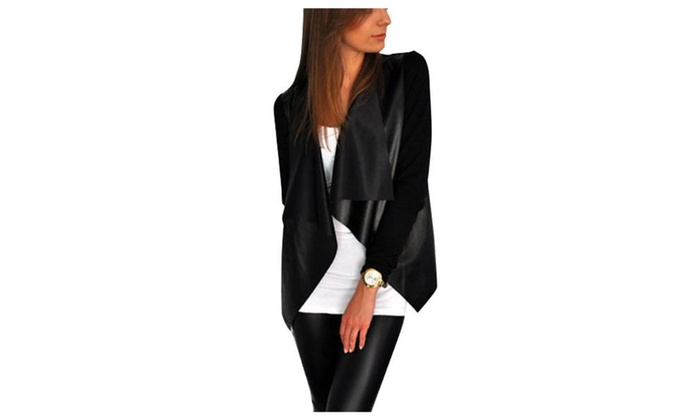 Women's Fashion Open Front Long Sleeve Faux Leather Coats