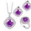 Trendy Square Design Purple Zircon Crystal Jewelry Set