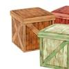 Wooden Crate Design Vintique Folding Storage Ottoman Assorted Colors
