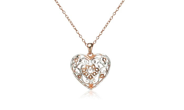 Rose gold tone over silver two tone diamond cut filigree heart rose gold tone over silver two tone diamond cut filigree heart pendant necklace groupon aloadofball Gallery