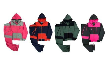 Women's Trendy Biker Accent Fleece Casual Sportswear Active Sweatsuit