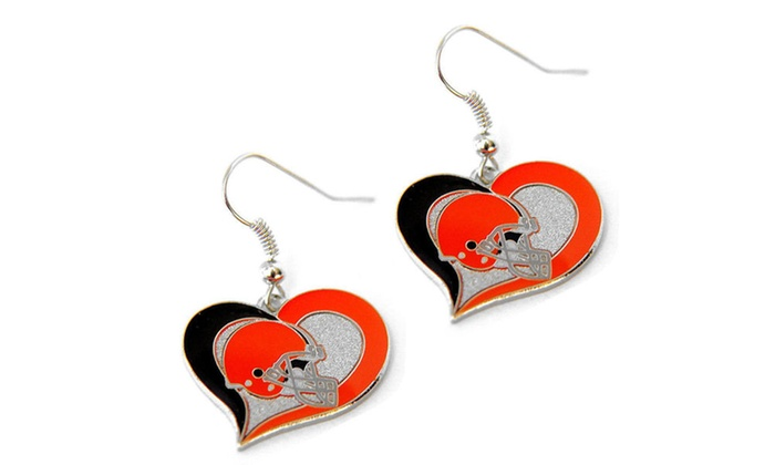 NFL Swirl Heart Dangle Logo Earring