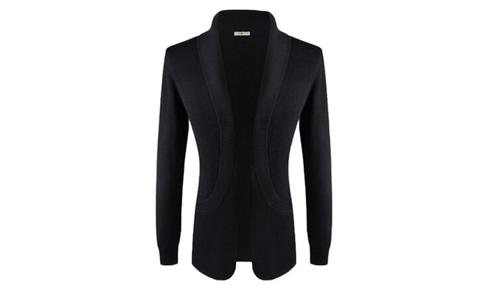 Men's Slim Fit Shawl Collar Open Front Knit Cardigan Sweater
