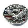 Enamel Western American Pride Eagle Vintage Oval Flag Shape Belt Buckl