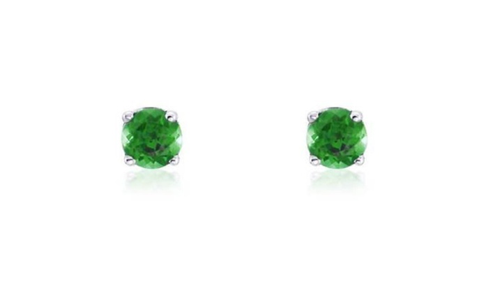 Empire Jewelry: 14K White Gold 3mm Round Green Emerald Natural Stud Earrings