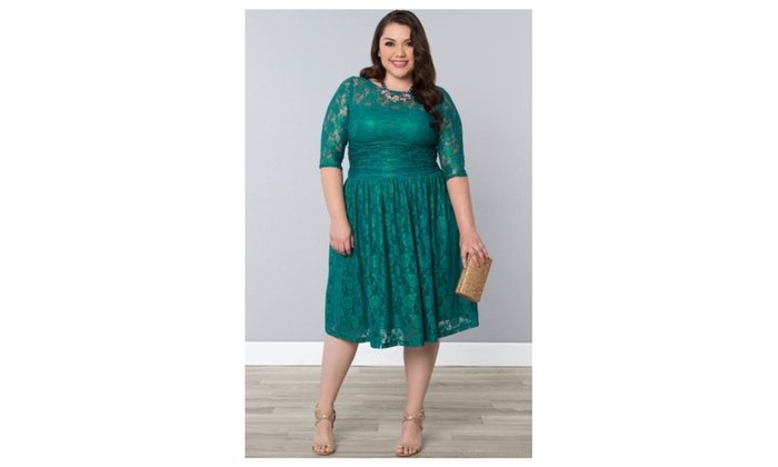 Women Round Neck Plus Size Halter Dress Green – JPWD317