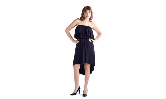 24/7 Comfort Apparel Women's Strapless Flounced Dress