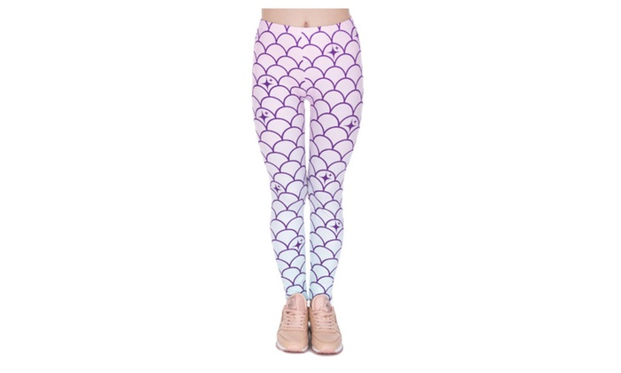 81ae354688 Sparkly Mermaid Scales Women's Leggings Printed Yoga Pants Workout ...