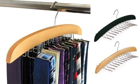 1-2 Pack Wooden Belt Hanger 24 Tie Belt Scarf Holder Closet Organizer Rack Hook