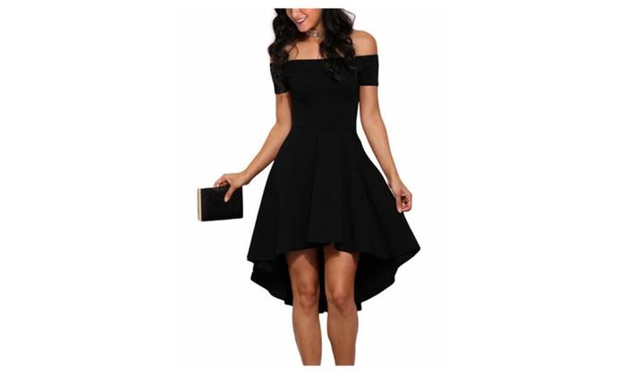 7230d106d Off Shoulder Sleeve High Low Skater Dress