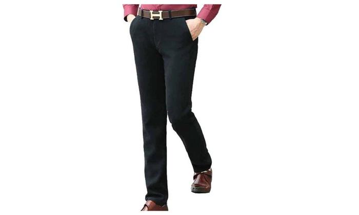 Men's Slim Fit Solid ZipUpwithButtonClosure Pants