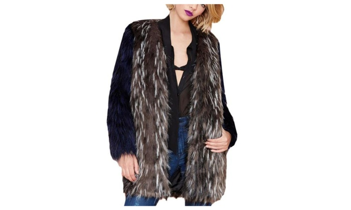 Women's Contrast Casual Long Sleeve Open Front Fur Jackets