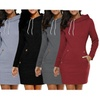 Womens Fashion Autumn Long Sleeve Hoodie Sweatshirts Casual Mini Dress