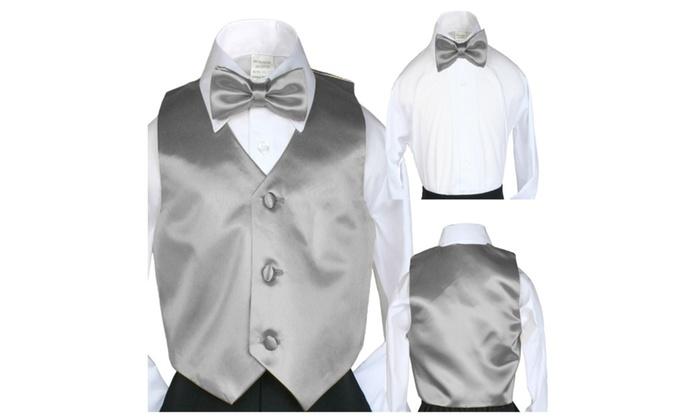 458c72f75728 Boy Suit Formal Wedding Silver Satin Vest Bow tie Baby SM-28 Teen ...
