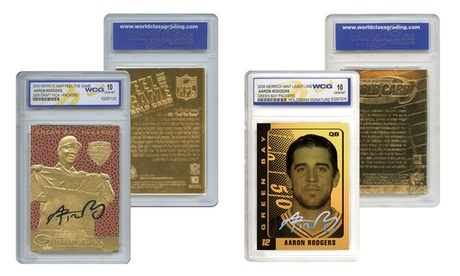 Set of 2 Gold Cards Aaron Rodgers Packers Feel The Game and Laser Line Gem-Mint 99b83306-33e9-46fc-bbec-0d3dd8edb613