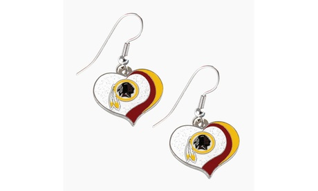 Washington Redskins NFL Glitter Heart Earring Swirl Charm Set c63e4056-9c06-4373-8670-956484373d30