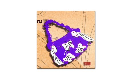 Roderick Stevens 'Bow Purse White on Purple' Canvas Art (Goods For The Home Prints & Decals) photo