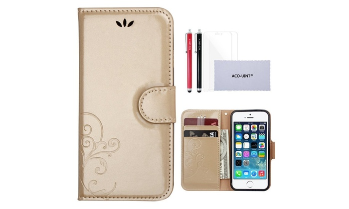 newest c21a6 daefe iPhone SE 5s Wallet Case With Two Stylus Pens | Groupon