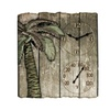 """Taylor 12"""" X 13"""" Palm Tree Poly Resin Clock With Thermometer"""