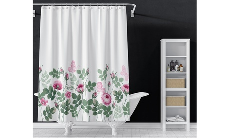 Floral Shower Curtain Set with Hooks Decorative Bathroom Shower Curtains 72*72
