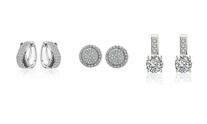 9ece03292 18K White Gold Plated Earrings Made With AAA Cubic Zirconia 3 Pairs
