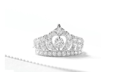 18K White Gold Crystal Tiara Crown Ring Made With Crystals From Swarovski