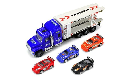 Speed Race Transport Trailer Children's Friction Toy Semi Truck 1:32 9219ae09-8d09-45fe-924b-32a2040ca626
