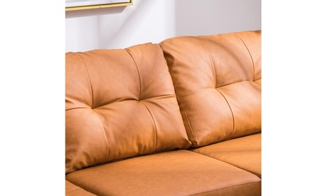 L-Shaped Sofa with Reversible Chaise, PU Leather Light Brown