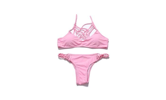 Women's Halter Neck Strappy Bikini Sets