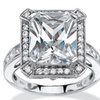 5.52 TCW CZ Ring in Platinum over Sterling Silver