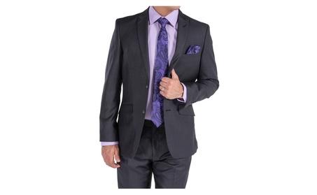 Porto Filo Charcoal Gray Men's Slim Fit Suit
